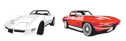 Corvettes, Illustration vectorielle, 2002