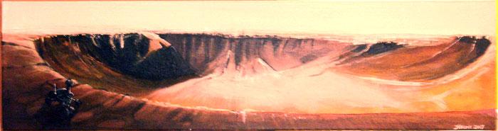 Cratère Victoria, Mars - Acrylique sur bois - 2006